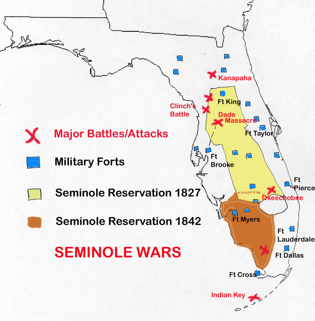 Map of Seminole Wars in Florida